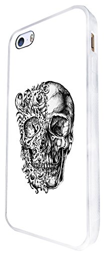 1476 - Cool Fun Trendy Skeleton Floral Zombies Scary Skull Tattoo Biker Skull Design iphone SE - 2016 Coque Fashion Trend Case Coque Protection Cover plastique et métal - Blanc