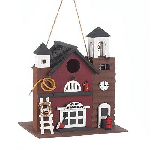 FIRE STATION BIRDHOUSE Firehouse Fireman Fire Station Ladder Wood Fairy Bird House Decorative Birdhouse
