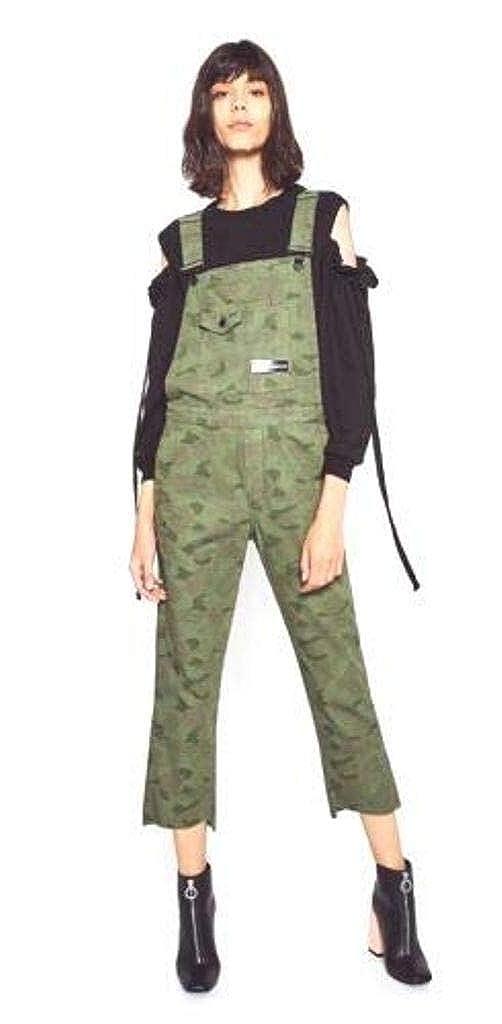 Zara Trafaluc Women Jumper Dungaree Cropped Pants Military Camouflage XS