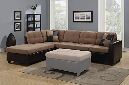 Coaster Home Furnishings Mallory Reversible Sectional Tan and Chocolate