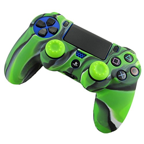 PS4 Controller Skin, Coerni Silicone Case Cover +2PC Rocker Cap For Playstation PS4 Controller (Green)