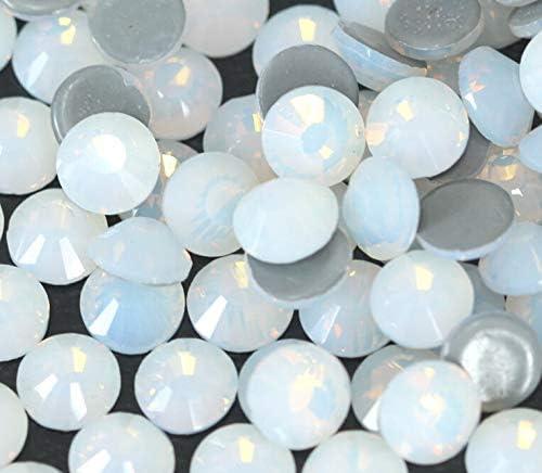 Xuccus ss3-ss30 White Opal Crystal Nail Art hotfix Rhinestone Decorations 3D Flatback Glass Hot Fix Rhinestones for Garment - (Size: ss3-ss30 Mix 1440pcs)