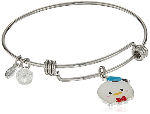 Disney Stainless Steel Adjustable with Silver Plated Tsum Tsum Donald Duck Enamel Charm Bangle Bracelet Disney Donald Duck Charm