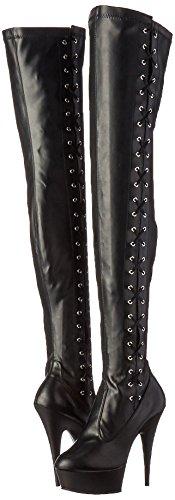 blk Leather Pleaser Str Donna Delight Polacchine Matte 3050 blk Nero Faux OOXq8x