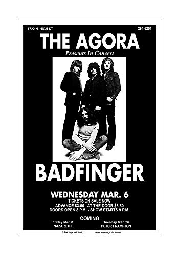 Raw Sugar Art Studio Badfinger 1974 Columbus Concert Poster