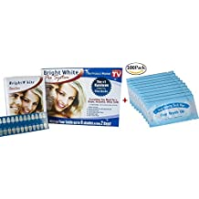 Impressive Bright White Smile Professional Strength Teeth Whitening Kit for At-Home and In-Office Use and 100pcs Finger Teeth Wipes Oral Brush Ups Mint Flavor