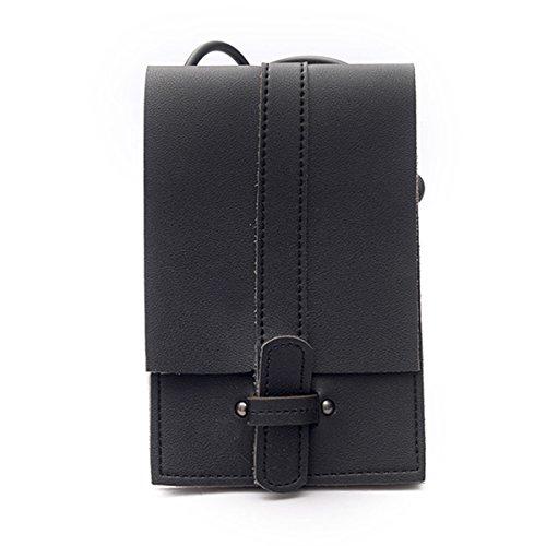 ZOONAI Mini Crossbody Shoulder Bag Cell Phone Wallet Change Purse Pouch (Black)