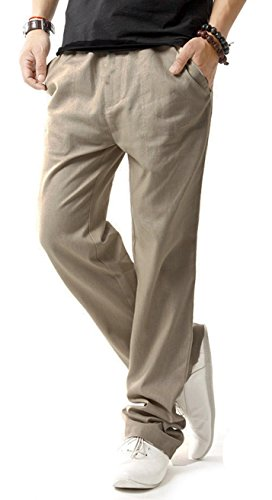 Yoga Products : TBMPOY Men's Linen Casual Elastic Loose Fit Straight Pants Yoga Beach Summer Trousers