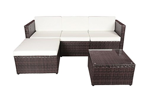 Modern Outdoor Garden, Sectional Sofa Set with Coffee Table - Wicker Sofa Furniture Set ()