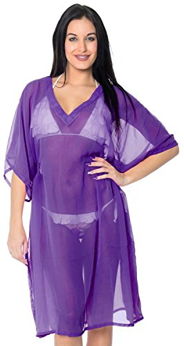 La Leela pura de la gasa de la playa del traje de baño normal caftan mujeres superiores encubrir caftán túnica de la blusa morado
