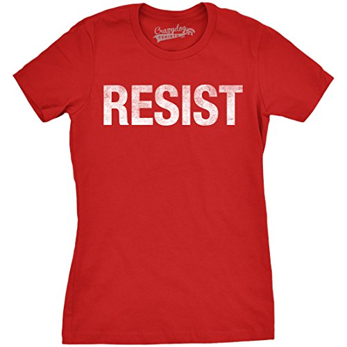 Womens Resist Tee United States of America Protest Rebel Political T Shirt (Red) - L