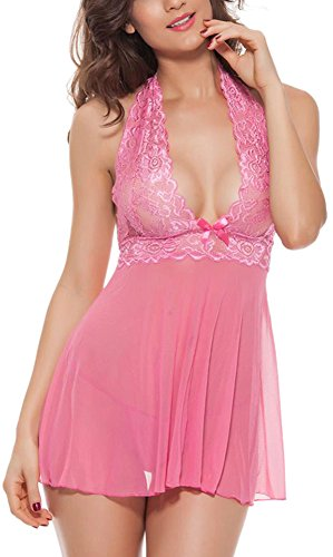 Amilia Sexy Lingerie Halter Lace See Through Babydoll Backless Sheer Nightdress,Medium,Pink (Lace Negligee)