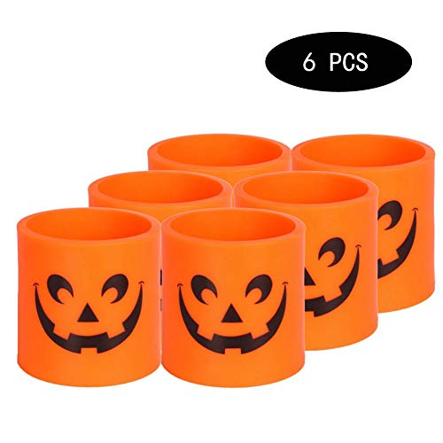 LHY LIGHT 6Pcs LED Tealight Candles, Creative Flicker Flameless Halloween Pumpkin Tea Lights for Home Party Easter Decoration