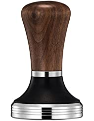 Diguo Elegance Wooden Coffee Tamper. Flat Espresso Tamper for 58mm Portafilter. Stainless Steel Flat with Height Adjustable Wooden Handle. Barista Espresso Tamper