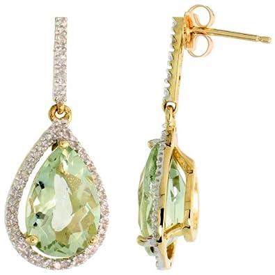 10k Gold Teardrop Earrings w Brilliant Cut Diamonds Pear Cut 12x8mm Green Amethyst Stone