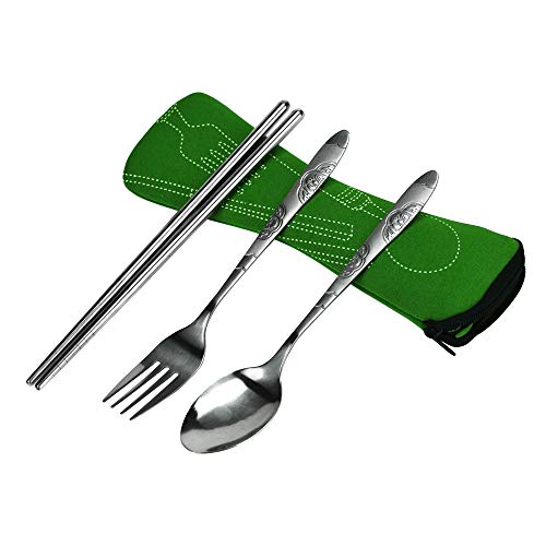 (Free Post,Exquisite and Durable 3in1 Stainless Steel Spoon Cutlery Set Portable Camping Bag Picnic (Green))