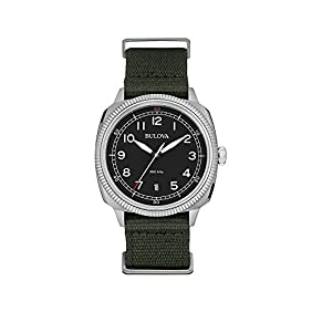 Bulova Men's Black Dial Watch With Green Strap
