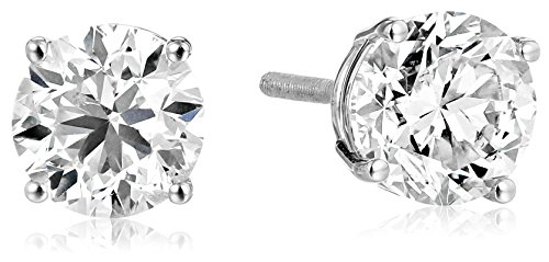 H/i Diamond Studs Round Earrings (IGI Certified 14k White Gold Round Diamond Stud Earrings (2 cttw, H-I Color, I1 Clarity))