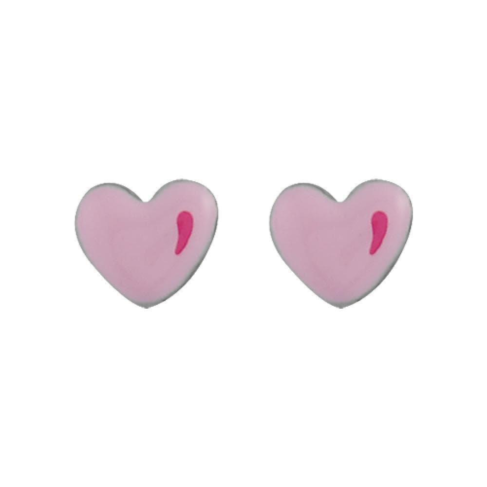So Chic Jewels 925 Sterling Silver Pink Enamel Heart Children Stud Earrings