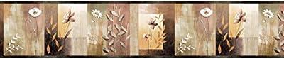 Chesapeake MEA24624B Bonnard Olive Color Block Floral Wallpaper Border