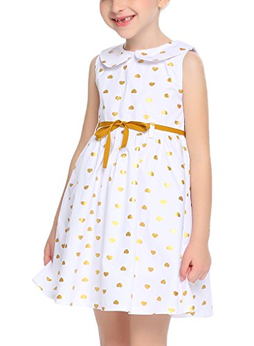 (Balasha Girls Sleeveless Doll Collar Sundress Cute Dots A-Line Dress with Belt)