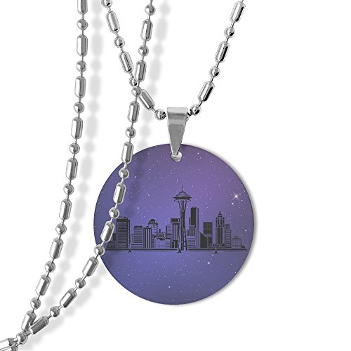 Seattle Washington Skyline Dog Tag Round Pendant Necklace,23 Inch Chain,Titanium-Lined-Aluminum (Skyline Pendant)