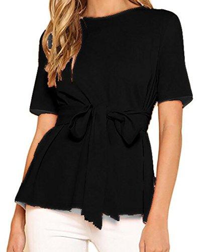 BLTR-Women Scoop Neck Tie Front Top Short Sleeve T-Shirt Blouse Black US L