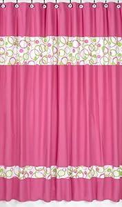 Circles Pink and Green Kids Bathroom Fabric Bath Shower Curtain by Sweet  Jojo Designs