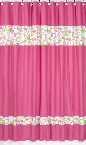Circles Pink and Green Kids Bathroom Fabric Bath Shower Curtain by Sweet Jojo Designs