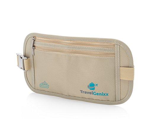 TravelGenixx Travel Money Belt and RFID-Blocking Passport Holder | Super Slim Concealed Waist Pack for Men and Women (Beige | Nude)