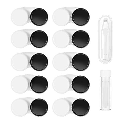ROSENICE Contact Lens Cases 12 Packs - Tweezers and Applicator Included - Leak Proof, Big Size, One Year Supply - Contact Lens Remover Contact Lens Holder(Black White)