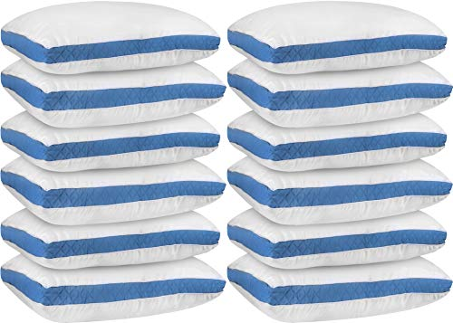 Utopia Bedding Gusseted Quilted Pillow (12-Pack) Premium Quality Bed Pillows - Side...