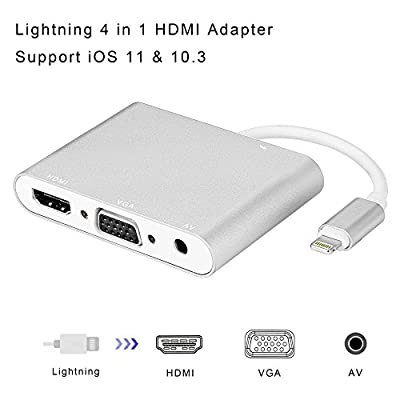 Lightning to HDMI VGA AV Adapter, Acode 4 in 1 HDMI/VGA/Audio/Video Multiport Digital Adapter Converter Plug & Play on HDTV Projector 1080P for iPhone, iPad, iPod Support iOS 11, iOS 10.3(Silver)