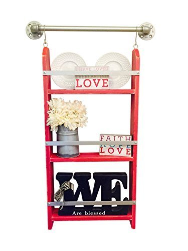 Chippy Paint ladder shelf, distressed red paint, distressed ladder shelf, rustic white ladder shelf, distressed paint shelf, ladder shelf, distressed red, rustic red shelf