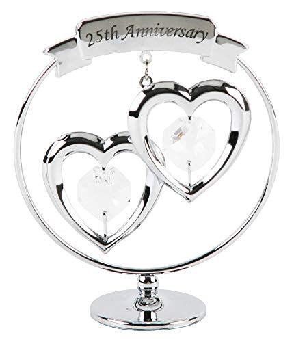 25th Anniversary Silver Plated Keepsake Gift with Clear Swarvoski Crystal Elements By Haysom Interiors -