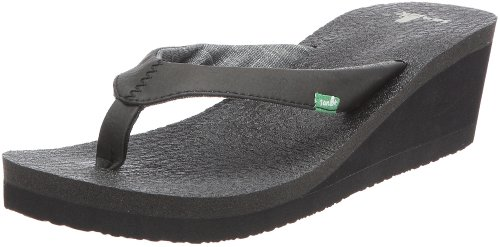 Sanuk Women's Yoga Mat Wedge Flip Flop Sandal,Black,7 M ()