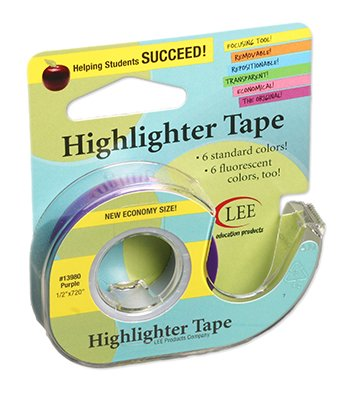 10 Pack LEE PRODUCTS COMPANY REMOVABLE HIGHLIGHTER TAPE PURPLE by Lee Products Company