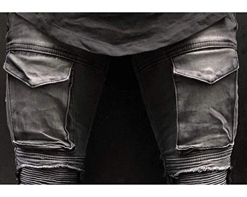 Stile Skinny Pantaloni Jeans Lanceyy Da Biker Semplice Grau Distrutti Look Elasticizzati Pieghettati Style Uomo Casual Denim xFxqw40