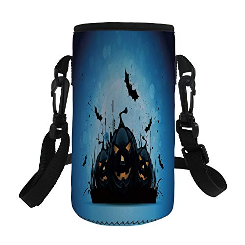 Small Water Bottle Sleeve Neoprene Bottle Cover,Halloween,Scary Pumpkins in Grass with Bats Full Moon Traditional Composition Decorative,Black Yellow Sky Blue,Great for Stainless Steel and Plastic/Gla