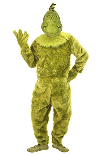 elope Dr. Seuss The Grinch Deluxe Jumpsuit Mens L/XL Green -