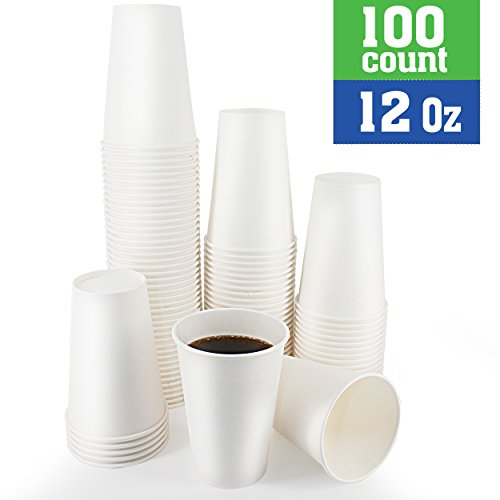 Disposable White Coffee Cups - Premium 12 Oz Ounce Hot Paper Cups For Coffee Espresso Tea Chocolate - Perfect For Gatherings, Birthday, Party and Restaurant Supplies 100 Count by Exom Essentials