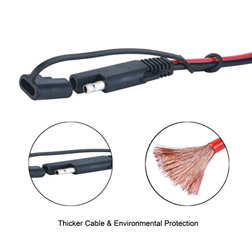 Battery Charging Cables SAE TO SAE 12V-24V Quick Disconnect Extension Cable 2 Pin With Dust Cap DC Connection Cord Plug 12 Feet 16AWG Gauge for Camp Trailer Solar Panels Battrey