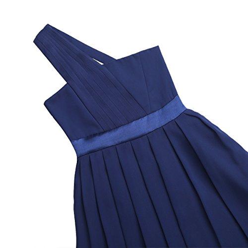 Filles Tiaobug Enfants De Demoiselle D'honneur De Mariage Plissé Bal Formel Soirée Une Épaule Fleur Filles Robes Bleu Marine