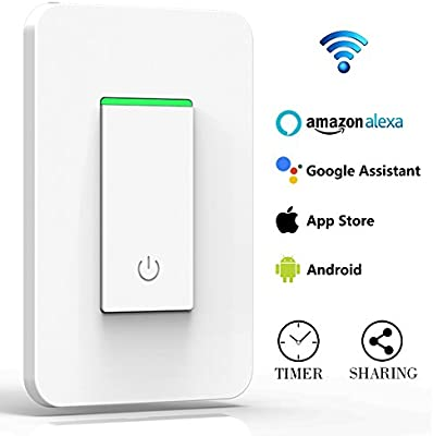 Amazon smart wifi wall mounted light switch with timer and amazon smart wifi wall mounted light switch with timer and mechanical button multi person control no hub required compatible with amazon alexa mozeypictures Choice Image