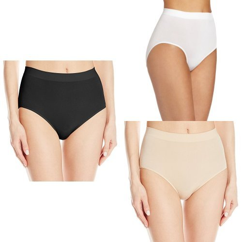 Wacoal Women's B-Smooth Brief Panty, Black/White/Naturally Nude, Small