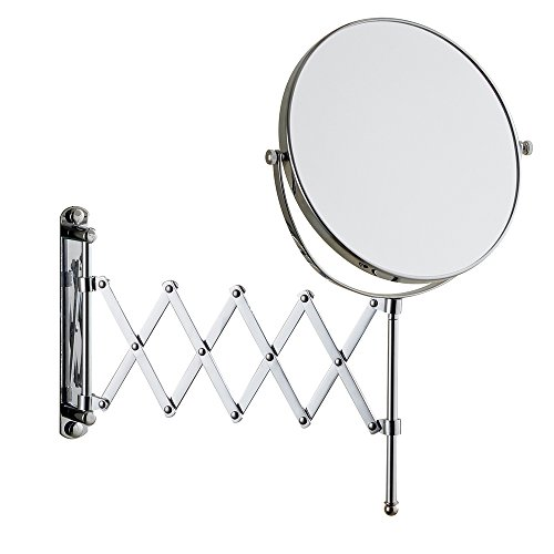 Cavoli 8 Inches Double-sided Wall Mount Scalable Mirror with 10x Magnification,with Scissor Bracket,Chrome Finish 8 inch,10x