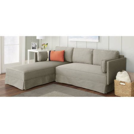 10 Spring Street Durant Small-Scale Sectional - Solid Wood Legs, Moss (Down Sectional Sofa)