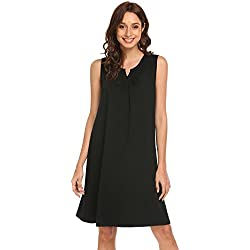 Adoeve Woman Lingerie Cotton Nightgown V-Neck Sleepwear Loungewear (Black, Medium)