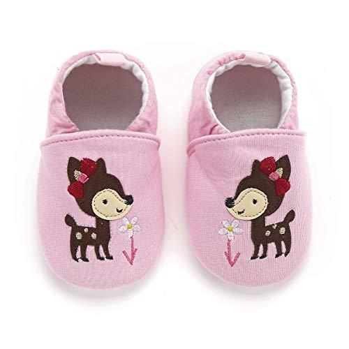 KOSHINE Fox First Walker Cloth Baby Shoes Toddler Mocassins Infant Prewalker for Girl Boy (Pink Deer, 9-12 Months/5.0inch)