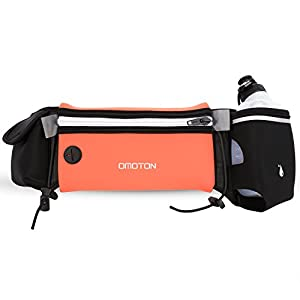 Hydration Running Belt with 1 BPA Free Water Bottle, OMOTON Multifunctional Zipper Pockets Water Resistant Runners Waist Pack, For Running, Race, Marathon, Hiking, Cycling, Climbing, Camping, Orange